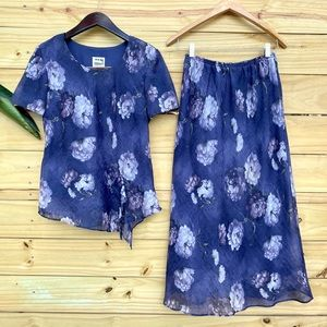 Vintage Floral 2-Piece Blouse and Skirt Set